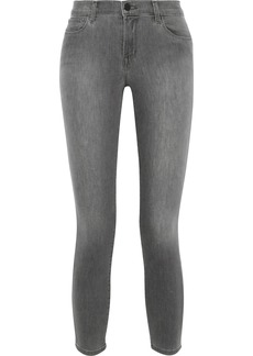 J Brand Woman 835 Cropped Faded Mid-rise Skinny Jeans Gray