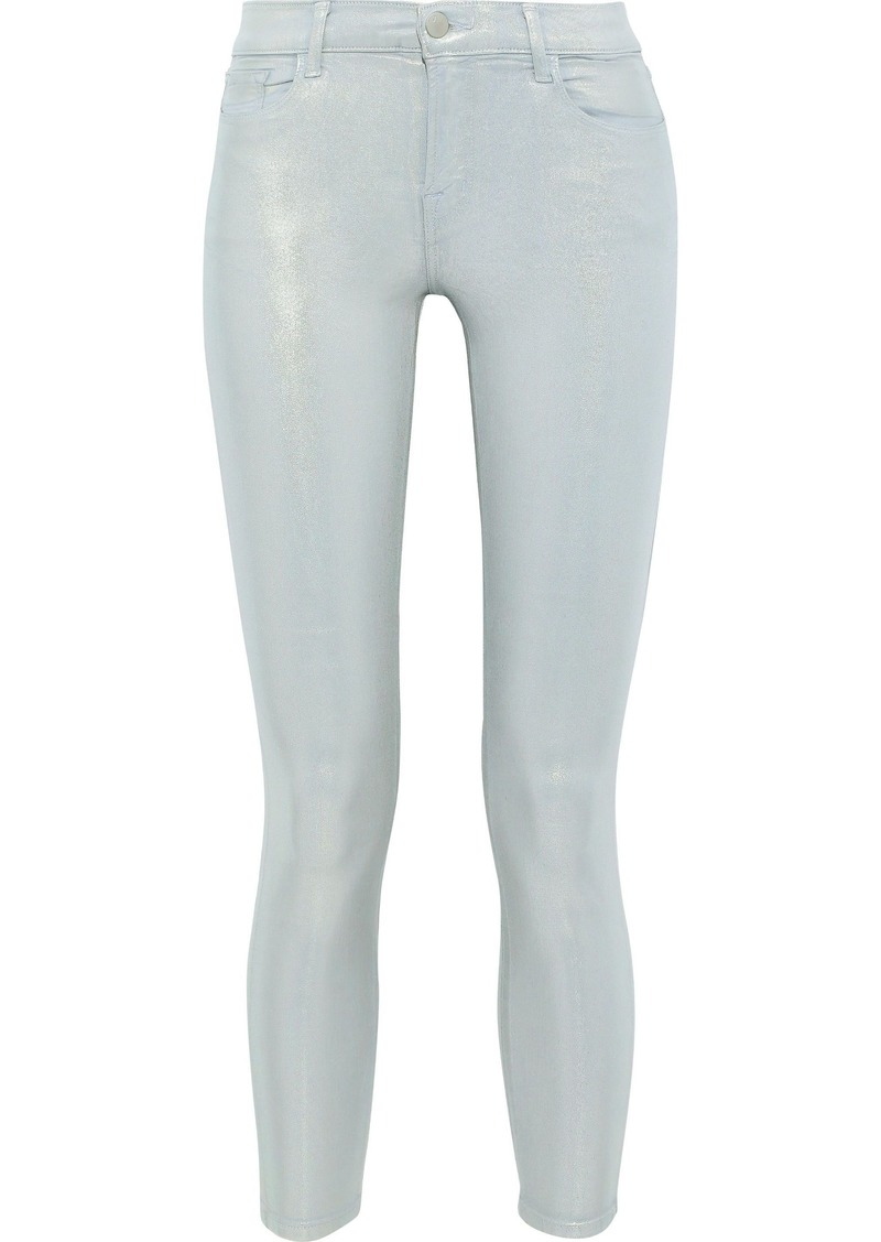 J Brand Woman 835 Cropped Distressed Mid-rise Skinny Jeans Light Denim