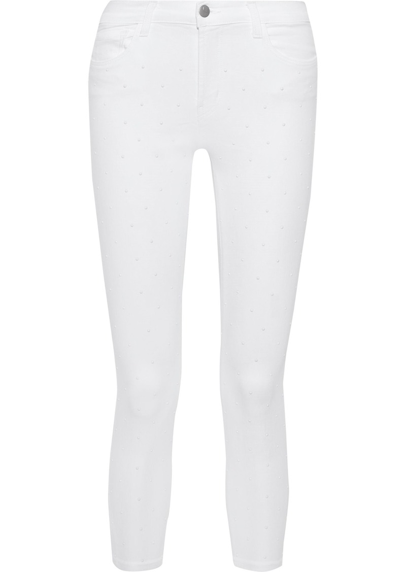 J Brand Woman 835 Cropped Studded Mid-rise Skinny Jeans White