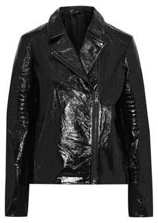 J Brand Woman Aimee Crinkled Patent-leather Biker Jacket Black