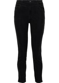J Brand Woman Alana Cropped Cotton-blend Corduroy Skinny Pants Black