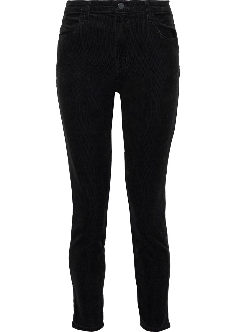 J Brand Woman Alana Cropped Cotton-blend Corduroy Skinny Pants Black