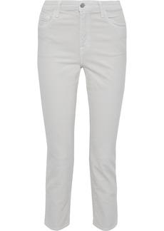 J Brand Woman Alana Cropped Cotton-blend Corduroy Slim-leg Pants Off-white