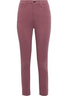 J Brand Woman Alana Cropped Cotton-blend Skinny Pants Grape