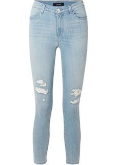 J Brand Woman Alana Cropped Distressed High-rise Skinny Jeans Light Denim