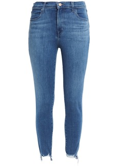 J Brand Woman Cropped Faded Mid-rise Skinny Jeans Mid Denim
