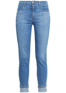 J Brand Woman Alana Cropped Distressed High-rise Skinny Jeans Mid Denim