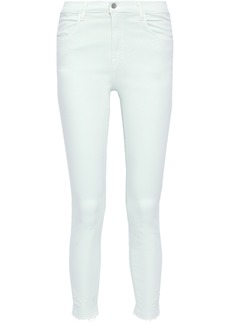 J Brand Woman Alana Cropped Distressed High-rise Skinny Jeans Mint