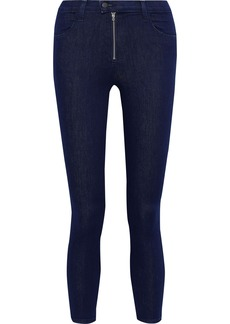 J Brand Woman Alana Cropped Zip-detailed High-rise Skinny Jeans Mid Denim