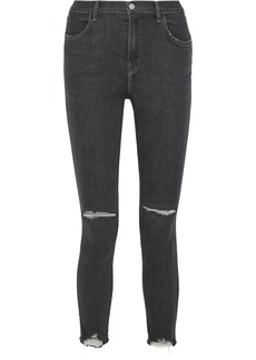J Brand Woman Alana Distressed High-rise Skinny Jeans Anthracite