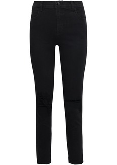 J Brand Woman Alana Distressed High-rise Skinny Jeans Black