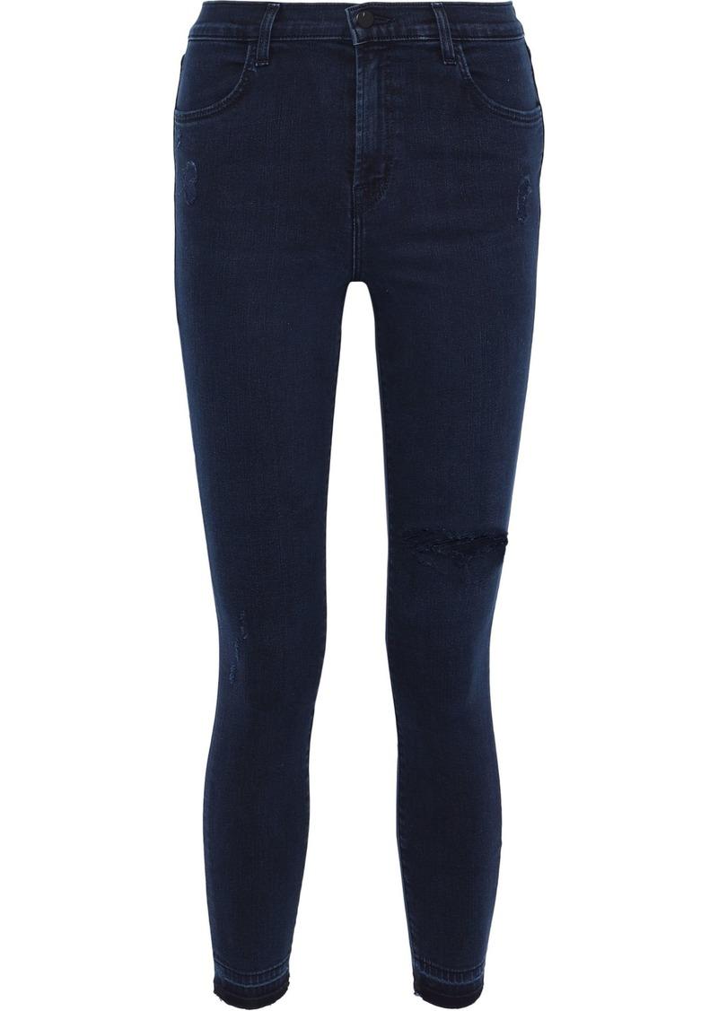J Brand Woman Alana Distressed Mid-rise Skinny Jeans Mid Denim