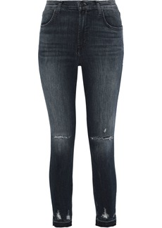 J Brand Woman Alana Distressed Mid-rise Skinny Jeans Mid Denim