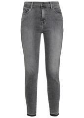 J Brand Woman Alana Frayed High-rise Skinny Jeans Dark Gray