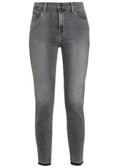 J Brand Woman Alana Frayed High-rise Skinny Jeans Dark Gray
