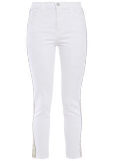 J Brand Woman Alana Grosgrain-trimmed High-rise Skinny Jeans White
