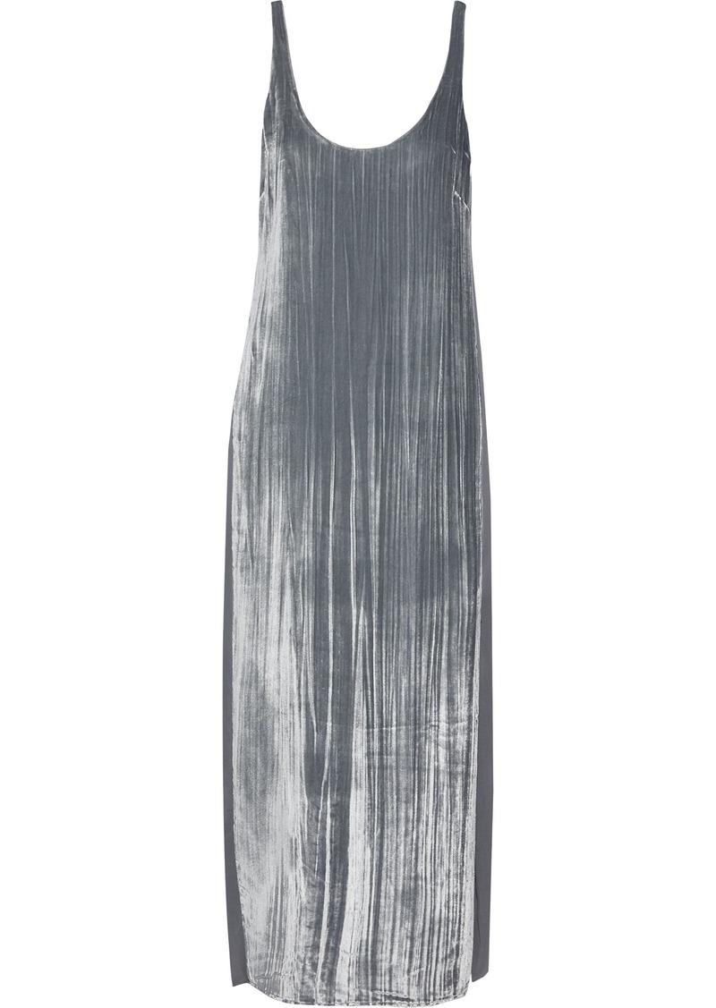 J Brand Woman Alisha Silk-paneled Crushed-velvet Midi Dress Silver