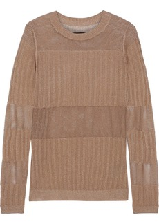 J Brand Woman Andrea Metallic Ribbed And Open-knit Sweater Bronze