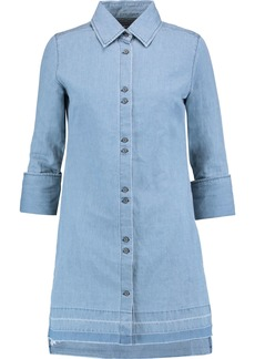 J Brand Woman Bacall Cotton And Linen-blend Mini Dress Blue