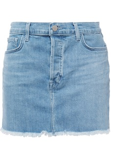 J Brand Woman Bonny Frayed Denim Mini Skirt Light Denim
