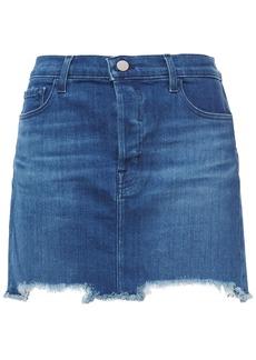 J Brand Woman Bonny Frayed Faded Denim Mini Skirt Mid Denim