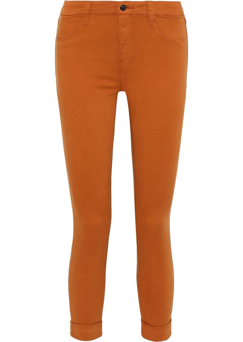 J Brand Woman Anja Cropped Brushed Cotton-blend Sateen Skinny Pants Orange