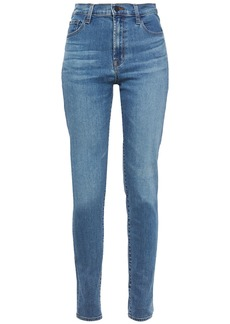 J Brand Woman Carolina Faded High-rise Skinny Jeans Mid Denim