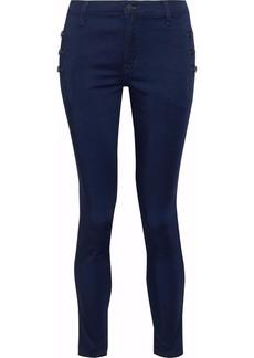 J Brand Woman Chime Cropped Brushed-twill Skinny Pants Indigo