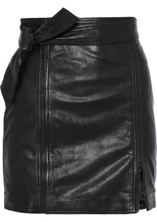 J Brand Woman Christa Zip-detailed Leather Mini Skirt Black
