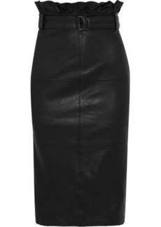 J Brand Woman Claudia Belted Leather Pencil Skirt Black