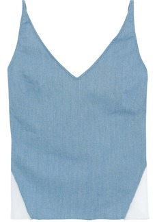 J Brand Woman Cotton-blend Chambray And Organza Camisole Blue