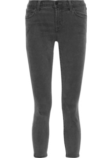 J Brand Woman Cropped Brushed Tencel-blend Skinny Pants Gray