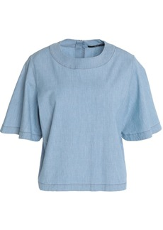 J Brand Woman Cropped Cotton-blend Chambray Top Light Denim
