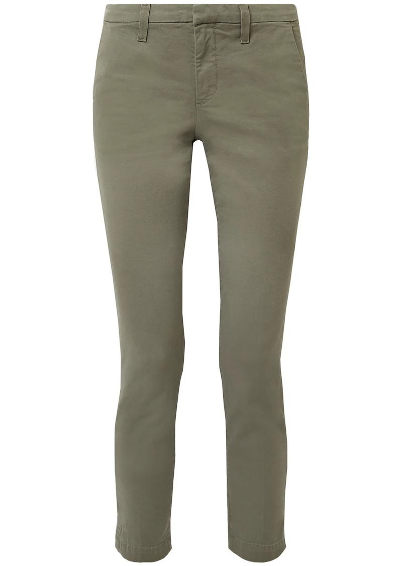 J Brand Woman Clara Cropped Cotton-blend Twill Slim-leg Pants Army Green