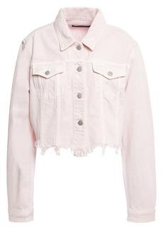 J Brand Woman Cyra Cropped Distressed Denim Jacket Pastel Pink