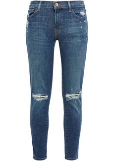 J Brand Woman Cropped Distressed Mid-rise Skinny Jeans Dark Denim