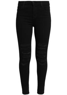 J Brand Woman Distressed Mid-rise Skinny Jeans Black