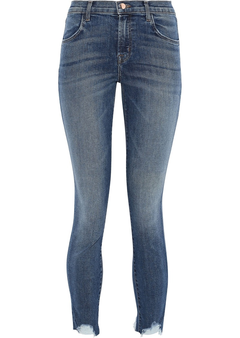 J Brand Woman Cropped Faded High-rise Skinny Jeans Mid Denim