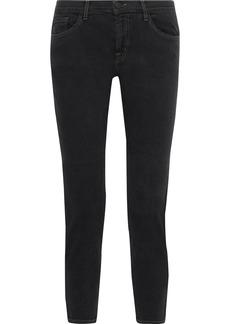 J Brand Woman Sadey Cropped Mid-rise Slim-leg Jeans Black
