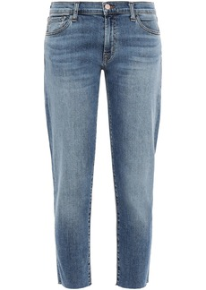 J Brand Woman Cropped Faded Mid-rise Straight-leg Jeans Mid Denim