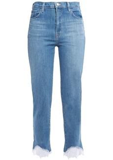 J Brand Woman Cropped Lace-trimmed Mid-rise Slim-leg Jeans Light Denim