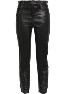 J Brand Woman Cropped Laser-cut Leather Slim-leg Pants Black