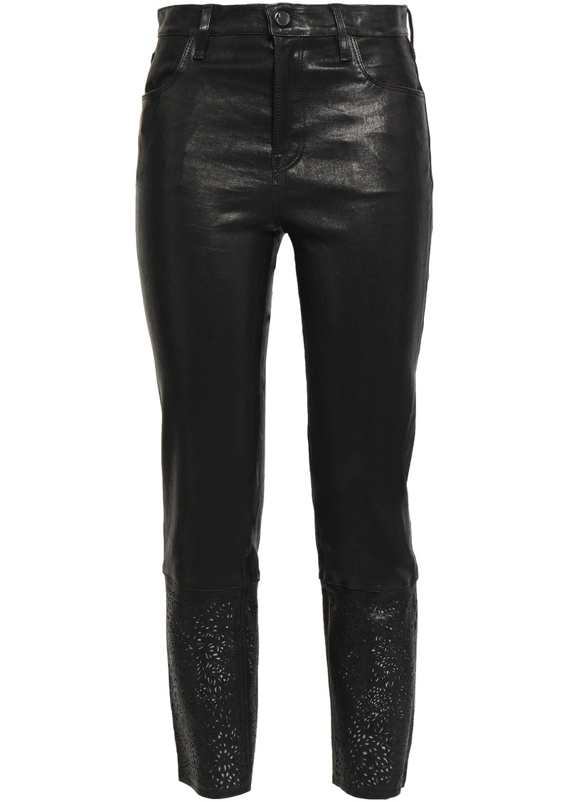 J Brand Woman Cropped Laser-cut Leather Slim-leg Pants Black