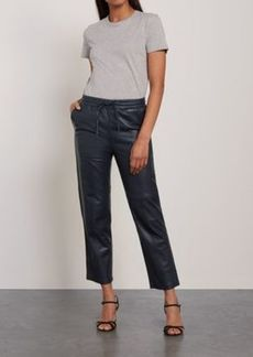 J Brand Woman Cropped Leather Track Pants Midnight Blue