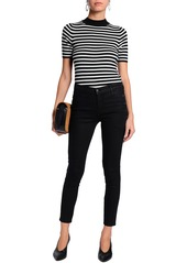 J Brand Woman Cropped Mid-rise Skinny Jeans Black