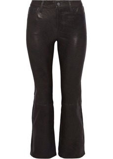 J Brand Woman Cropped Stretch-leather Bootcut Pants Anthracite
