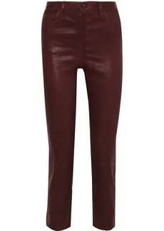 J Brand Woman Cropped Stretch-leather Slim-leg Pants Burgundy