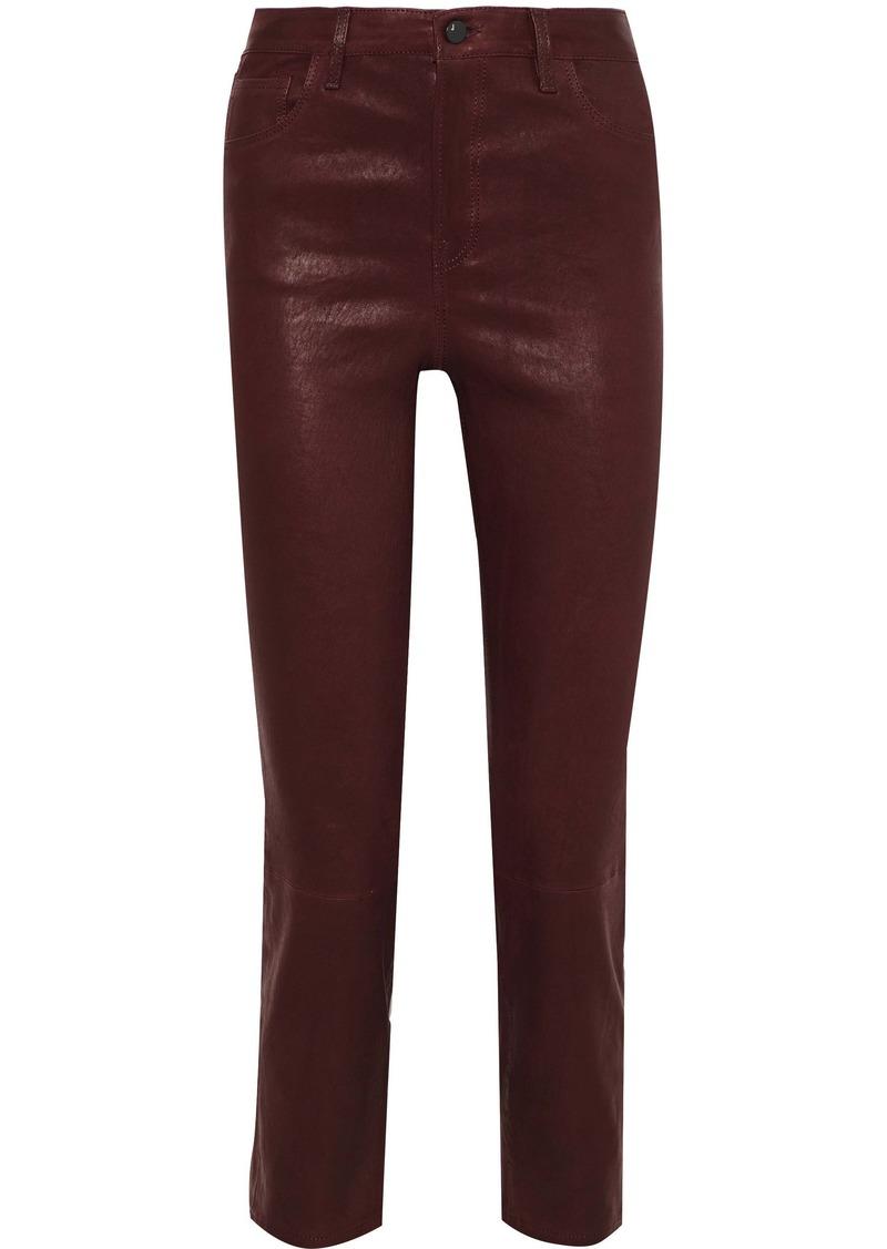 J Brand Woman Leather Slim-leg Pants Burgundy