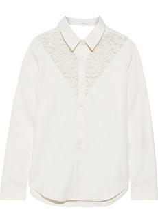 J Brand Woman Cutout Corded Lace-paneled Twill Shirt Cream