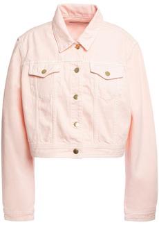 J Brand Woman Cyra Cropped Denim Jacket Pastel Pink